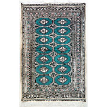 Oriental Pak Kashmiri Wool and Cotton Rug, Brown/Green