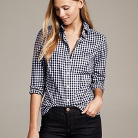 Banana Republic Fitted Non Iron Gingham Shirt Size 00 Petite - Preppy navy