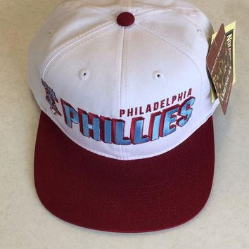 DCCKIHN AMERICAN NEEDLE PHILADELPHIA PHILLIES RETRO WHITE SNAPBACK ADJUSTABLE HAT