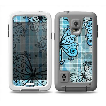 The Vibrant Blue Butterfly Plaid Skin Samsung Galaxy S5 frē LifeProof Case