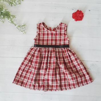 Red tartan girls dress, Christmas dress, red dress, baby and toddler dress