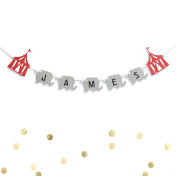 Circus Banner Red Tent and Elephant Animal Carnival Custom Personalized Name Banner