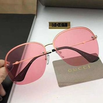 GUCCI Trending Women Men Frameless Spectacles Shades Eyeglasses Glasses Sunglasses Pink