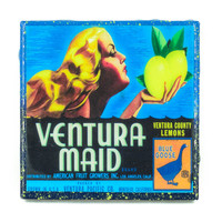 Handmade Coaster Ventura Maid Brand - Vintage Citrus Crate Label - Handmade Recycled Tile Coaster