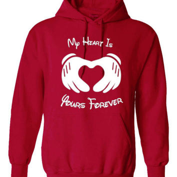 MY HEART IS YOURS FOREVER MICKEY MOUSE HOODIE PULLOVER JUMPER - RED