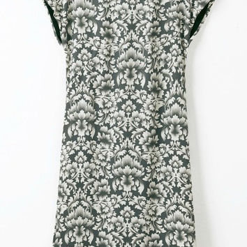 Grey Floral printed Short Sleeve Midi Dress