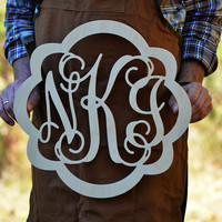 Wooden Framed Monogram Unpainted Vine Script Monogram, Home Decor, Wedding Decor,Initial Monogram, Door Hanger, Guarden