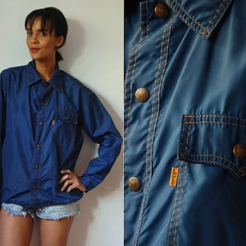 Vtg Levi's Rain Shirt Navy Orange Stitched Snap Button Up Drawstring
