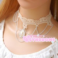 Elegant White Embroider Lace Choker and Chains with Pearl
