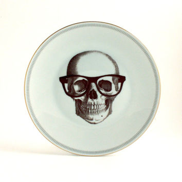 Altered Nerd Skull Plate Antique Porcelain Glasses Decorative House Decor Graduation White Fun Funny Human