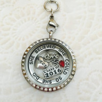 Grandkids Large 30mm stainless steel memory locket with crystals and choice of chain