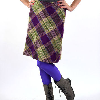 Vintage wool skirt, purple, green women midi skirt, 90s