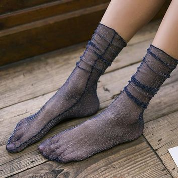 Diamond Sheer Sock | Navy