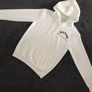 DCCKFC8 Christian Dior : Champion Flower Rose Embroidered Sweater Hoodie Pullover