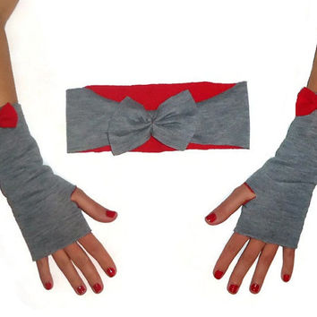 Gray and Red Bow Fingerless Driving Gloves and Wide Headband Earwarmer Winter Accessory