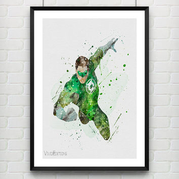 Superhero Green Lantern Poster, DC Comics Watercolor Art Print, Kids Bedroom Decor, Gift for Boy, Not Framed, Buy 2 Get 1 Free! [No. 132]