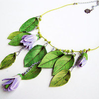 Spring necklace- leaves and flowers necklace- leaf necklace- green and violet- polymer clay- spring jewelry- woodland- boho- trending- ooak