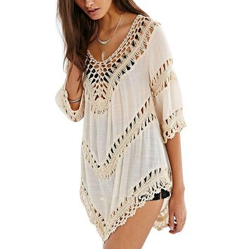 MOSHU Sexy Summer Beach Dress Women White Lace Linen Causal Short Dresses See-Through Crochet Tunic