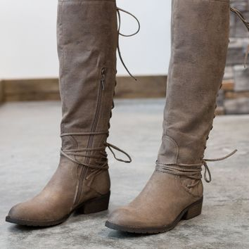 Marcelina Lace Up Boots - Taupe