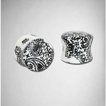 Black and White Paisley Plug 2 Pack - Spencer's