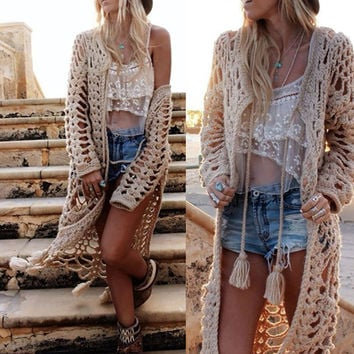 Summer Beach Sexy Hot Swimsuit New Arrival Women's Fashion Crochet Jacket Sweater Tassels Blouse Bikini [6532709255]
