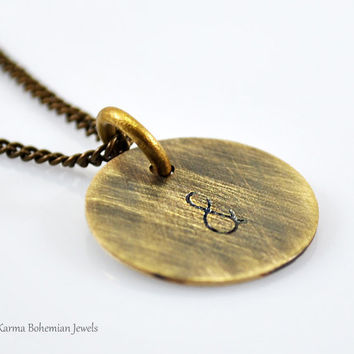 Brass Initial Medallion Necklace. Personalized Circle Necklace. Engraved Necklace. Long Simple Necklace. Boho Necklace. Oxidized Necklace.