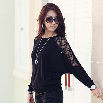 Batwing Lace Sleeve Shirt