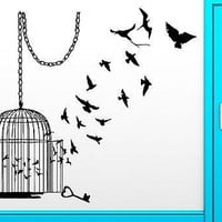 Wall Sticker Birds Escape Cage Freedom Bird Cool Decor For Bedroom Unique Gift (z2517)
