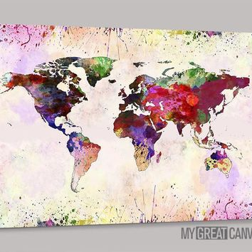 Watercolor World Map Canvas Prints | Wall Art Map Canvas | Splash World Map Canvas Painting
