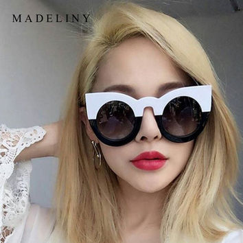New Cat Eye Sunglasses Women Brand Designer Fashion Vintage Round Sun Glasses Luxury Glasses Oculos De Sol Feminino MA200