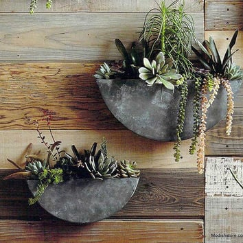 Roost Orbea Zinc Half-Circle Planters