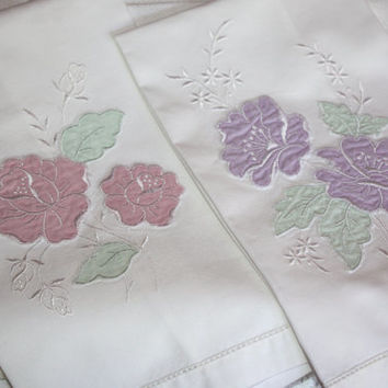 Embroidered Guest Towels / Pink and Lavender Floral Applique / SET of 2