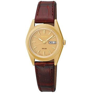 Seiko Solar Ladies Two-Tone Day / Date Watch - Leather Strap - Gold-Tone - 30m