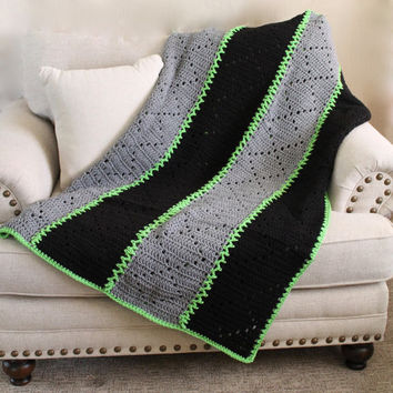 Afghan - Handmade Crochet Panel Blanket - Black and Grey with Bright Green Accent Yarn - Cozy Throw