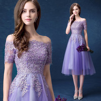 2017 New Arrival A-Line Chiffon Scalloped Short Cocktail Dresses Off the Shoulder Appliques Beads Formal Dress Party Ball Gowns