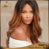 1B/30 full lace /lace front ombre human hair long wavy wig