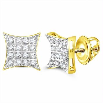 10kt Yellow Gold Men's Round Diamond Kite Square Cluster Stud Earrings 1-10 Cttw - FREE Shipping (US/CAN)