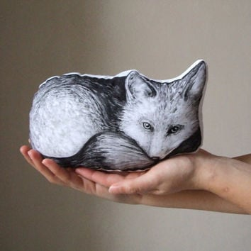 fox pillow woodland soft toy home decor black and white folk decorative mini pillow cute hand painted cushion