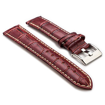 StrapsCo Premium Burgundy Croc Embossed Leather Watch Strap size 30mm