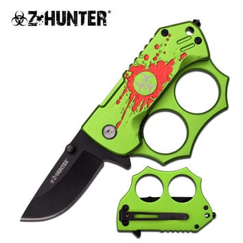 Z Hunter 3 Inch Green Knuckle Handle Spring Assisted Folding Knife