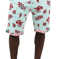Moss New York Men's Floral Print Striped Chino Shorts