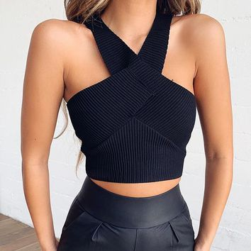 Fashion Women Sexy Sleeveless Knit Vest Crop Top Black