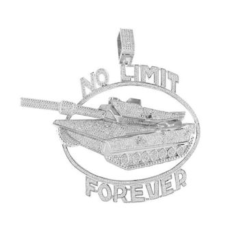 No Limit Forever Pendant Army Tank 14K White Gold Finish
