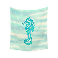 Wall Tapestry, nautical wall art, seahorse wall art, picnic blanket, beach blanket, sofa throw, nautical decor, aqua decor, wall hanging