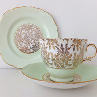 Vintage China Trio Set -  Royal Vale China Tea Cup, Saucer and Plate in mint green - English China