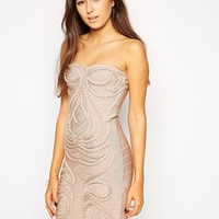 Forever Unique Cameo Bandage Dress - Nude