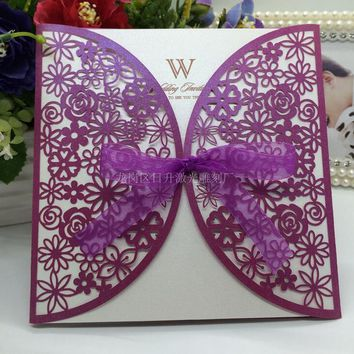 2017 Hot 20Pcs Delicate Carved Flowers Romantic White gold purple laser cut hollow Wedding Invitations Card with ribbon Party