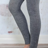 Grey Thigh High Solid Leg Warmers