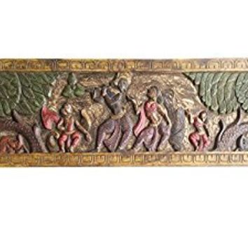 Antique Vintage Krishna Fluting with Radha Headboard in Vrindavan Wall Sculpture, Yoga, mediation Decor
