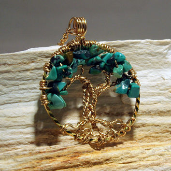 Tree Of Life Necklace Green Turquoise Pendant Gold Trunk On GF Chain Wire Wrapped Semi Precious Gemstone Jewelry